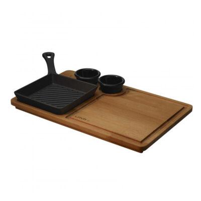 Mini grill ECO cu suport din lemn, 16x16x25cm