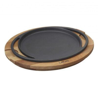 Vas din fonta ECO pentru pizza, suport din lemn, diametru 20cm