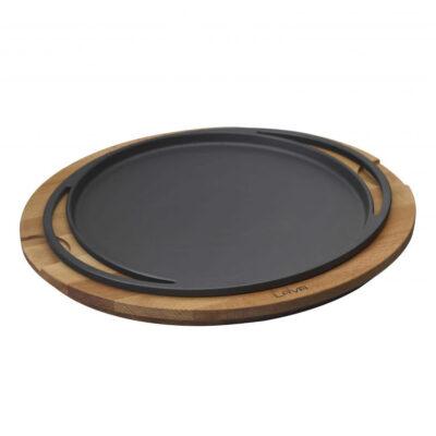 Vas din fonta ECO pentru pizza, suport din lemn, diametru 28cm