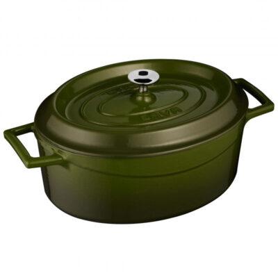 Cratita ovala TRENDY verde cu capac, 25x21cm