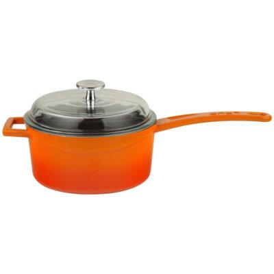 Cratita pentru sosuri GLAZE portocalie cu capac din sticla, diametru 16cm