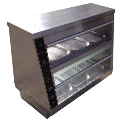 Vitrina calda expunere produse pui, dubla, 800x650mm
