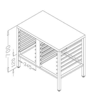 Suport cuptor 90x70cm, 12 tavi GN1/1