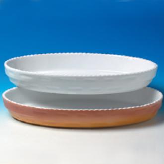 Vas oval colorat cu margini zimtate 32x20cm