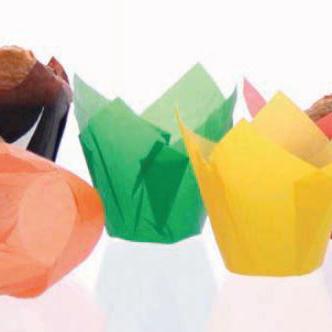 Hartie pentru copt briose, forma lalea, verde