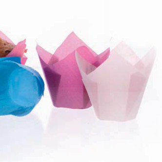 Hartie pentru copt briose, forma lalea, roz deschis