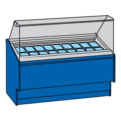 Vitrina frigorifica pentru inghetata, 12+12 cuve
