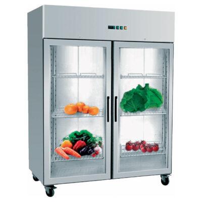 Dulap frigorific din inox cu 2 usi din sticla, 1333 litri