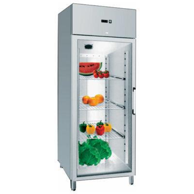 Dulap frigorific din inox cu o usa din sticla, 610 litri