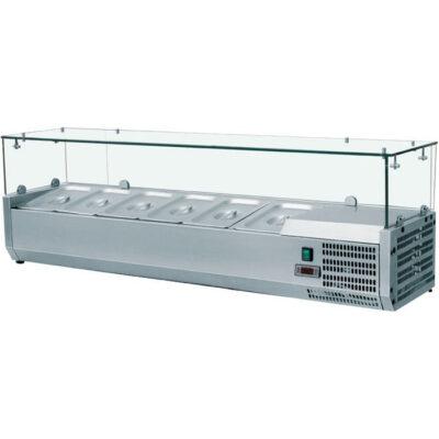 Vitrina frigorifica de banc 1200x395mm, 3 cuve GN1/3 + 1 cuva GN1/2