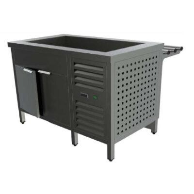 Cuva frigorifica prevazuta cu dulap frigorific, usi batante si ghidaje pentru tavi