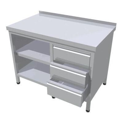 Masa de lucru tip dulap deschis, cu 3 sertare verticale, 1200x700mm