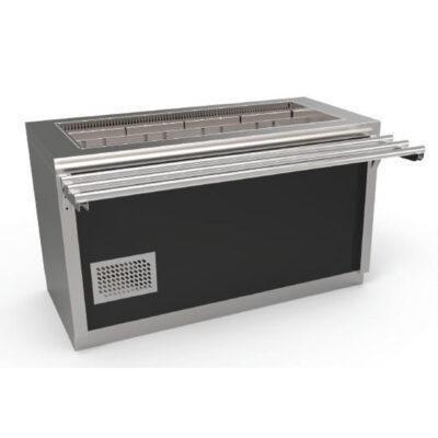 Cuva frigorifica prevazuta cu dulap neutru, usi glisante si ghidaje pentru tavi, 3xGN1/1