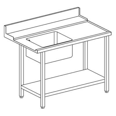 Masa prespalare cu polita intermediara, rebord si cuva pe partea stanga, 1200x770mm