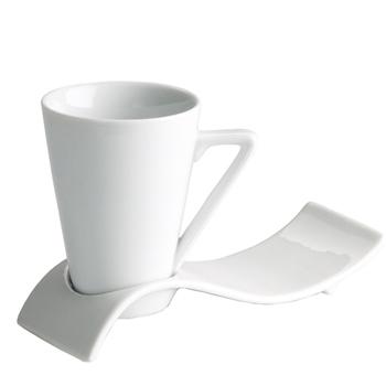 Ceasca pentru cafea cu farfurie ondulata, 50ml