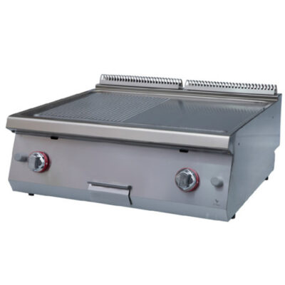 Fry top pe gaz cu suprafata neteda/striata, 800x730x280mm