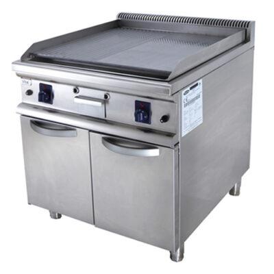 Fry top pe gaz cu suprafata neteda/ striata si dulap, 800x700mm