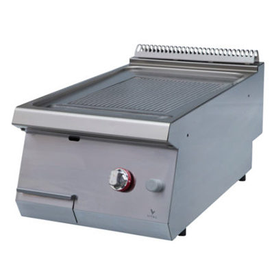 Fry top pe gaz cu suprafata striata, 400x920x280mm