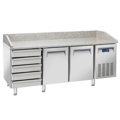 Masa frigorifica pentru pizza cu 2 usi si 5 sertare, 2025x800mm